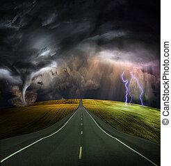 väg, blyertsstift, in i, oväder