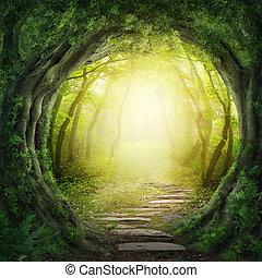 väg, in, mörk, skog