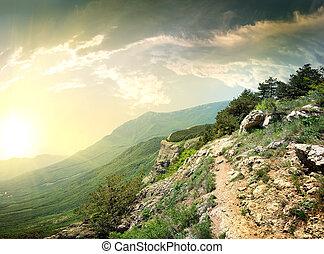 väg, in, mountains