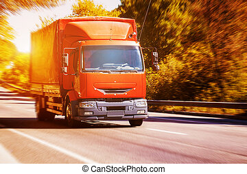väg, lastbil, suddiga, asfalt, röd