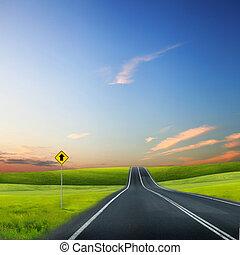 väg, och, horisont