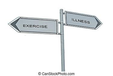 väg signerar, till utöva, och, sjukdom