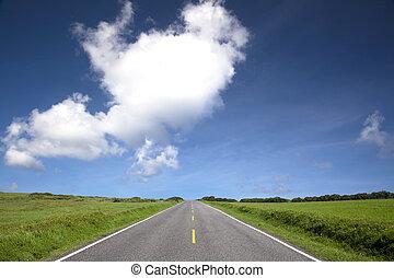 väg, synhåll, av, sommar, time., landskap, av, kenting, in,...