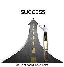 väg, teckning, framgång, stenläggade