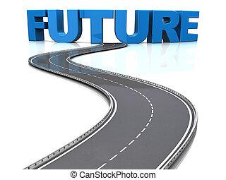 väg, till, framtid