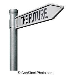 väg, till, framtiden