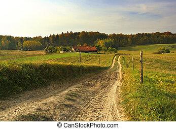 väg, till, lantgård