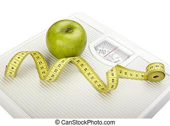väga, vågen, mätning, tejpa, kost, frukt, mat, äpple