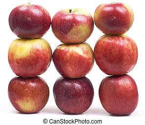 vägg, äpple