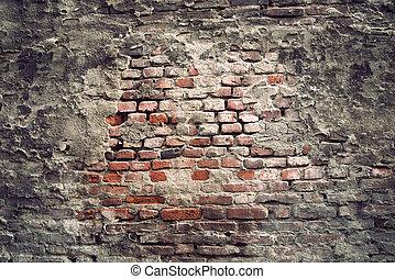 vägg, årgång, tegelsten