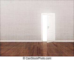 vägg, öppen dörr, tom