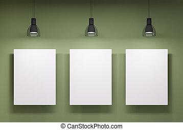 vägg, över, whiteboards, grön, tre