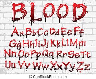 vägg, alfabet, blod
