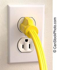 vägg, avlopp, -, gul, plugga