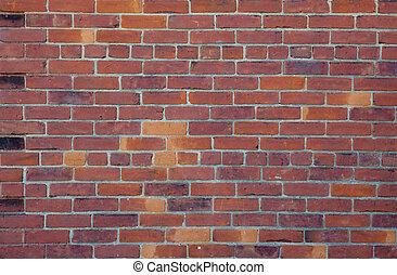 vägg, bakgrund, röda tegelsten