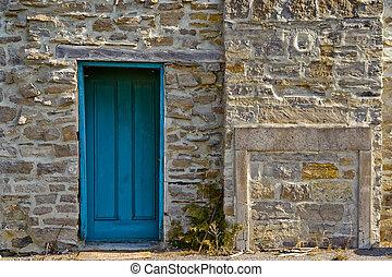 vägg, blåttar stenar, dörr