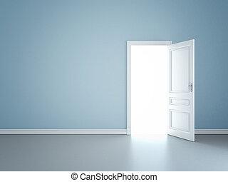 vägg, dörr, öppnat