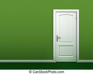 vägg, dörr, grön