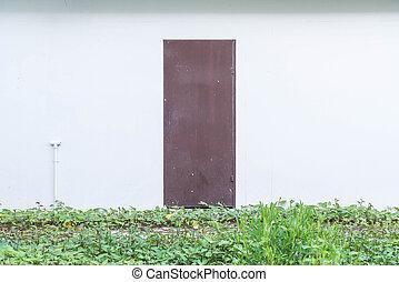 vägg, dörr, tom