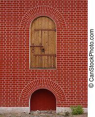 vägg, ensam, dörr, röd