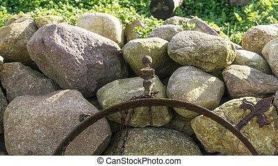 vägg, fält, sten, solsken, trädgård