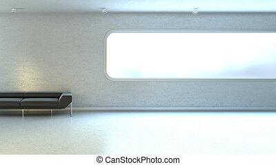 vägg, fönster, copyspace, interrior