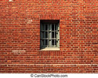vägg, fönster, fängelse