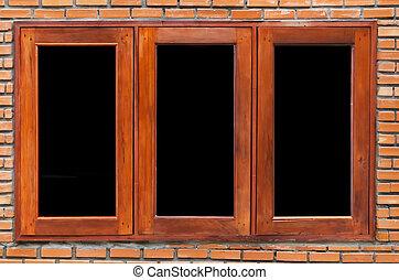 vägg, fönster, nymodig, tegelsten