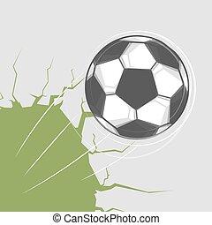 vägg, fotboll bal, genom, går