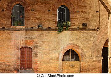 vägg, gammal, bakgrund