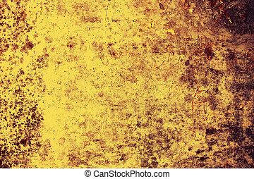 vägg, gammal, grunge, bakgrund, gul