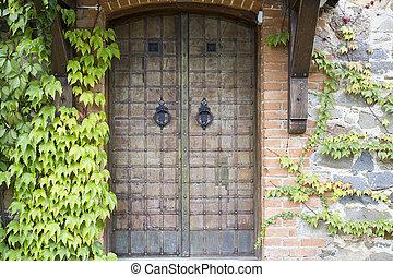 vägg, gammal, sten, dörr