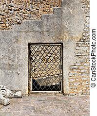 vägg, gammal, sten, dörr, välvd