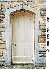 vägg, gammal, sten, dörr, yttre