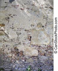 vägg, gammal, struktur, tegelsten