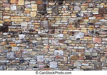 vägg, gammal, tegelsten, grunge