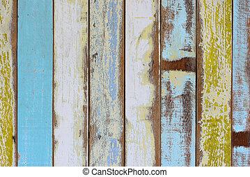 vägg, gammal, trä, målad