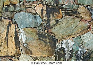 vägg, gjord, naturlig, färgrik, rockar