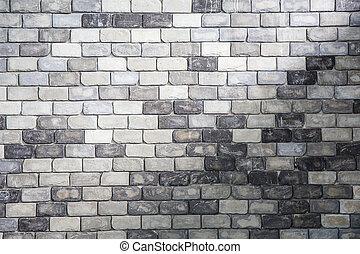 vägg, grå, abstrakt, tegelsten, bakgrund