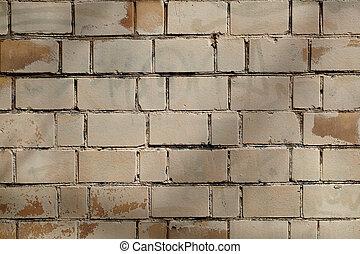 vägg, grå, tegelsten