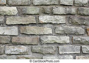 vägg, grå, tegelsten, mortar., bakgrund