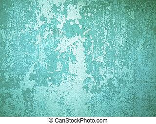 vägg, grön, grov, gammal