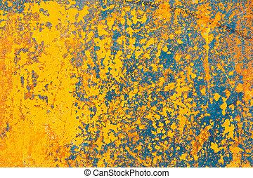 vägg, grunge, gul