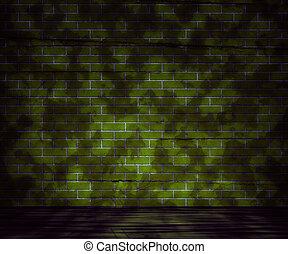 vägg, grunge, tegelsten, grön fond