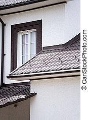 vägg, hus, förorts-, nymodig, fönster, vit