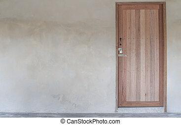 vägg, hus, gammal, dörr, trä