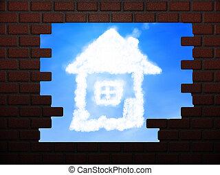 vägg, hus, hål, skyn, tegelsten
