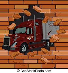 vägg, illustration, vektor, lastbil, kommande, tegelsten, spricka