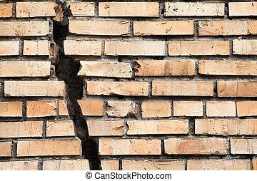 vägg, knäckt, tegelsten