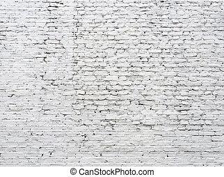 vägg, knäckt, vita tegelsten
